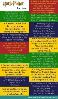 Harry potter fun facts- the one about Arthur and Sirius isn't all that fun- neither is the one about Fred and George
