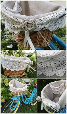 Linen Bicycle Basket Liner - love the use of old doilies