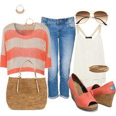 woman fashion, cloth, shirts, coral stripe, outfit, knit shirt, polyvore, closet, stripe knit