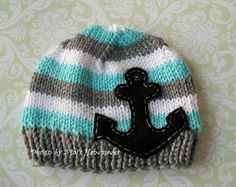 Baby Sailor beanie...A-Dorable, and if they made this same hat in my size, I would totally rock it :D