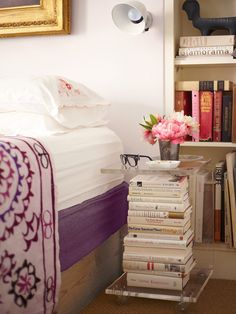 decor, books, interior, bedsid tabl, lucit, end tables, bedside tables, bedrooms, design
