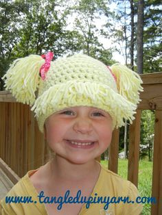 1 to 3 years Cabbage Patch Kid Hat with Pig by TangledUpInYarn, $30.00