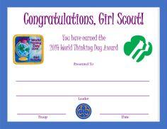 2014 World Thinking Day Award Certificate