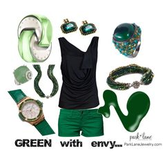 """""""Green with Envy"""" by parklanejewelry on Polyvore  Park Lane Jewelry Featured: Emerald Goddess Pierced Earrings and Watch, Margarita Ring, Ivy Necklace and Bracelet and Emerald City Ring"""