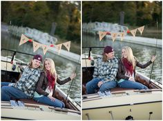 Super cute Save the date idea! On fishing poles in a boat. Fall Autumn Engagement Pictures. Close up.  Audrey Rose Photography ||  Virginia Portrait and Wedding Photographer