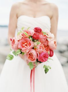 dreamy bouquet of coral peonies and roses // Photography: O'Malley Photographers