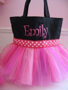 Tutu Dance Tote Bag  Black and Pink Monogrammed Bag by gkatdesigns, $28.00