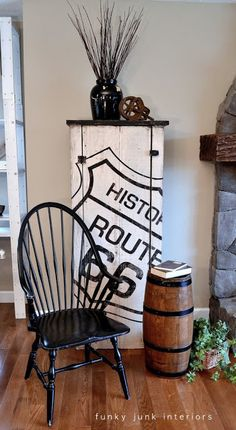 A cool Route 66 themed cupboard on a rustic storage cabinet via http://www.funkyjunkinteriors.net/
