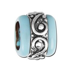 Swirl Pattern with Turquoise Resin Bead For Licorice Leather - Use with Licorice, Regaliz or 5mm round leather to make stunning Leather bracelets.