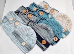 Newborn diaper cover and Beanie set.   Baby Boy by JunesLoomsEtc, $24.00
