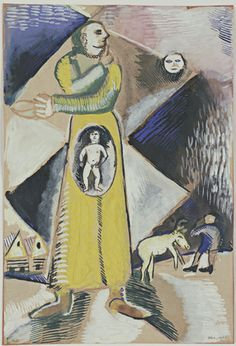 #Maternity  #MarcChagall (French, born Belarus. 1887-1985)    (1912). Gouache on paper