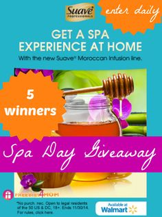"""""""Like"""" if you need a SPA DAY? Why???  5 WINNERS of my Suave® Spa Day Giveaway so go ENTER: http://freebies4mom.com/winspaday ad #SuaveSpaDay (ends Oct. 5)"""