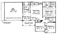 Three Bedroom New American - Small Floor Plan - 996 Sq ft.  small floor plan, hous plan, floor plans, floorplan, bathroom, house plans