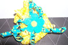 Blue and Yellow Curl Ribbon Hair Clip with Flower by melanieswartz, $4.00