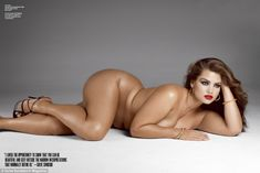 Size matters: Model Tara Lynn wears nothing but a slick of red lipstick while posing for V Magazine's size issue