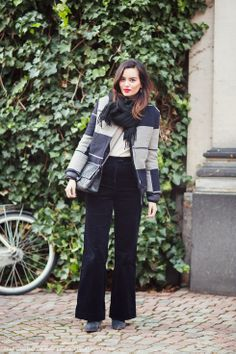 jacket, corduroy trousers, scarf, bright lips