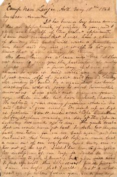 Civil War love letter. Letter written by J. C. Morris in camp near Lanjer, Arkansas, on May 10, 1863, to his wife Amanda . Morris was in the 21st Texas Cavalry, Company F. Ms92-013.