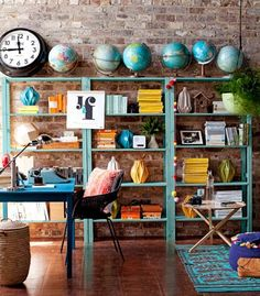 The fairly cheap IKEA shelves look spunky with a lick of bright paint! And I LOVE the line of globes at the top decor, interior design, design homes, room colours, home interiors, globes, offic, shelv, painting a room