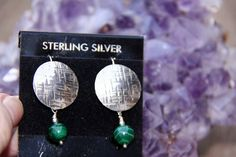 Sterling Silver Disc w Green Malachite Bead by Crow's Creation, $44.75   PLEASE Click on the etsy.com words below to follow the link to this item