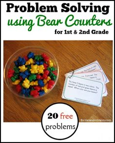 20 free logic problems for 1st and 2nd grade using counting bears! My math-avoiding daughter loved these!