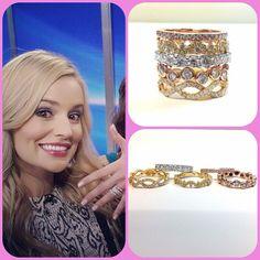 Newly engaged Emily Maynard wears 5 different stackable engagement rings. #thebachelorette #emilymaynard #diamonds #yellowdiamonds