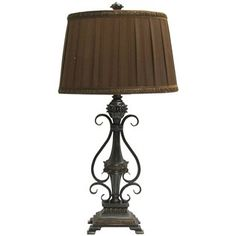 Brown Lamp with Ribbed Center & Metal Side | Shop Hobby Lobby