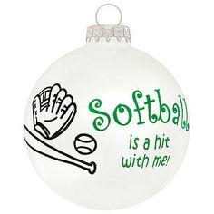 Softball Is a Hit glass ornament #softball #ornament #Christmas $8.99