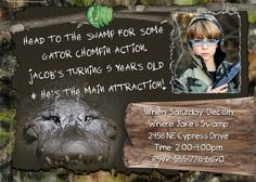 SWAMP Invitation Crocodile People HUNTING Boys Birthday Party Theme camo Camouflage photo Invite Personalized Alligator card. $14.98, via Bonanza for those that love Swamp People or Gator Boys.