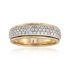 Ross-Simons - C. 1990 Vintage .50 ct. t.w. Pave Diamond Ring in 14kt Yellow Gold. Size 7 - #814008