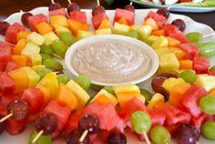 fruit kebab, appet, cinnamon, fruit kabobs rainbow, summer parti, dipping sauces, recip, healthy foods, parti idea