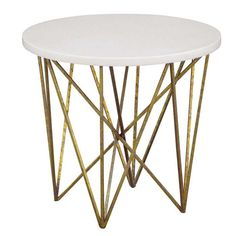 The George Side Table features a geometric metal base with a gloss white resin top.  Base is shown in antiqued gold, also available in iron black or antiqued silver. Top shown in gloss white, also available in gloss black, white shell, dark shell or clear resin with silvering. Please specify finish choices.