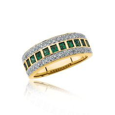 Emerald and Diamond Gold Anniversary Band