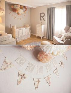 Peach And Grey Nursery Design For A Baby Girl | Kidsomania