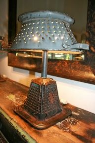 Repurpose Items For Home Decor | ... lamp, made from a vintage stovetop toaster and colander repurposed