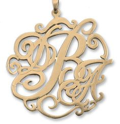 14K Gold Lace Monogram Necklace choose from by PersonalizedJewelry, $299.00