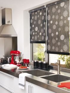Kitchen with solar shades.