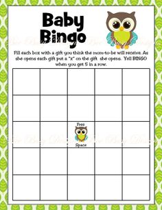 Printable Boy Owl Woodland Baby Shower Bingo Game by beebusy13, $4.00