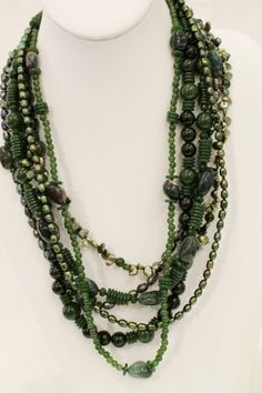 Aurora glass green jade and pearl necklace, $537