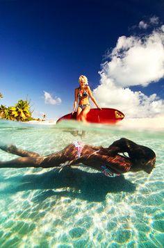 Underwater summer girls.