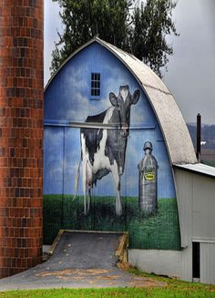 Barn With Cow & Cream Can Mural