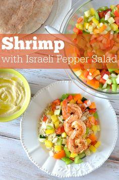Shrimp with Israeli Pepper Salad #oilyfamilies #summerrecipes