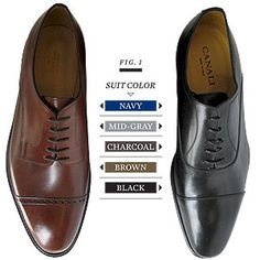 A great guide for those who are never quite sure what shoes go with which color suit.