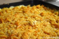 Chicken casserole with Ritz crackers. Use homemade cream of chicken instead of cans.