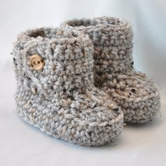 Baby Booties Crochet Baby Boots with by threekittensknitting  14.50