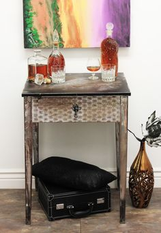 LOVE THIS - Chic bar table made from a repurposed old sewing machine table
