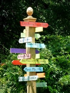Directional sign posts for the garden Lynn Paterson's sign post