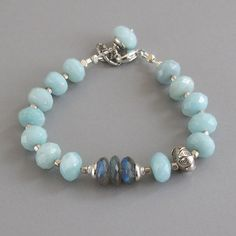 Amazonite Labradorite Spectrolite Gemstone Sterling Silver Bead Bracelet