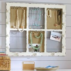 I love the Rustic Framed Wall Jewelry Display on pbteen.com.  I think I can do this myself. :)
