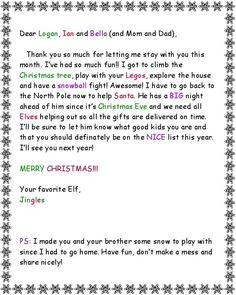 Elf on the Shelf: Goodbye letter from elf
