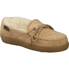 Old Friend Footwear Women's Loafer Moccasin Style #: 441165 Chestnut Suede Upper Fleece lining Slipper Warm Cozy Outdoor TPR Sole Traction | #TheShoeMart #CozyToes